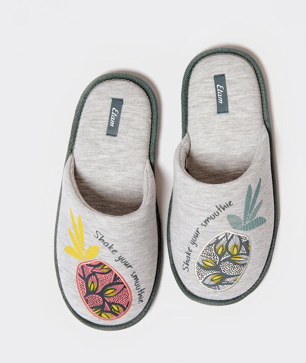 """Chaussons imprimé ananas """"Shake your smoothie"""";${refinementColor}"""