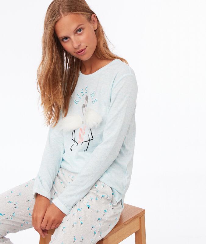 T shirt détail en fausse fourrure turquoise.