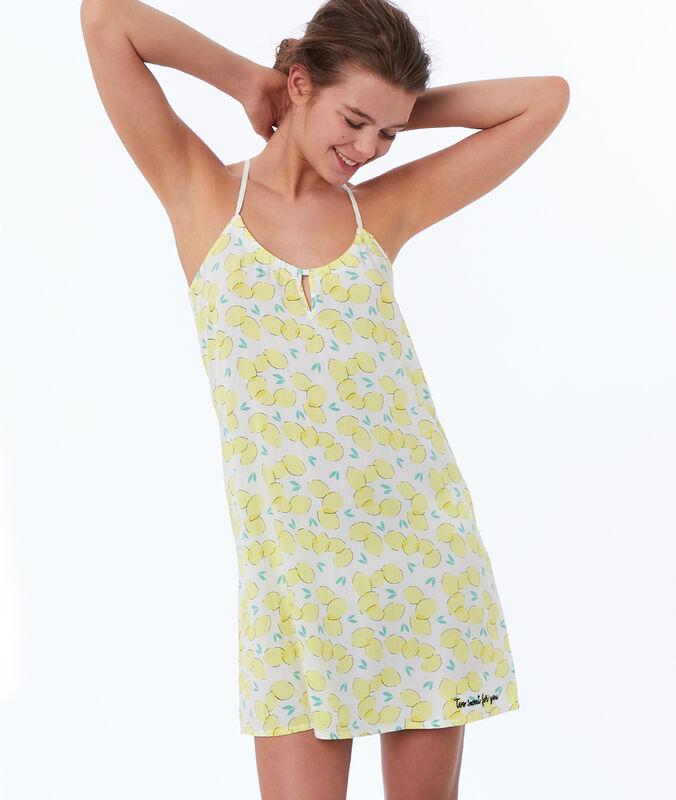 Chemise de nuit imprimée citron jaune.
