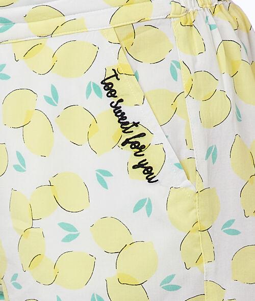 Short imprimé citrons
