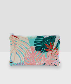 Pochette à imprimé tropical multicolore.