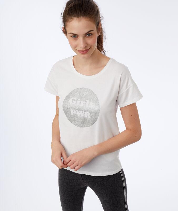 """T-shirt """"girl pwr"""" ecru."""