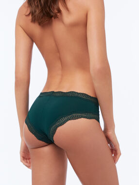 Shorty bords dentelle graphique vert sapin.