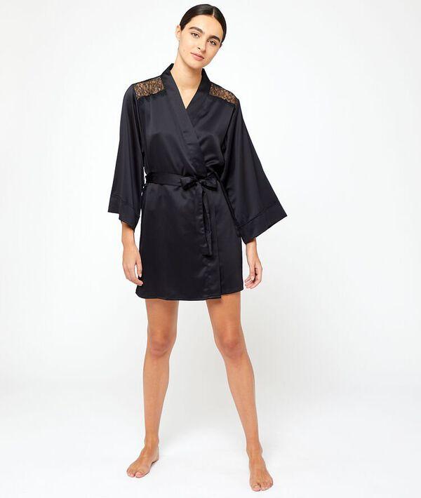 Kimono satiné épaules et dos dentelle;${refinementColor}