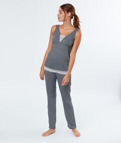 Pyjama 2 pièces gris.
