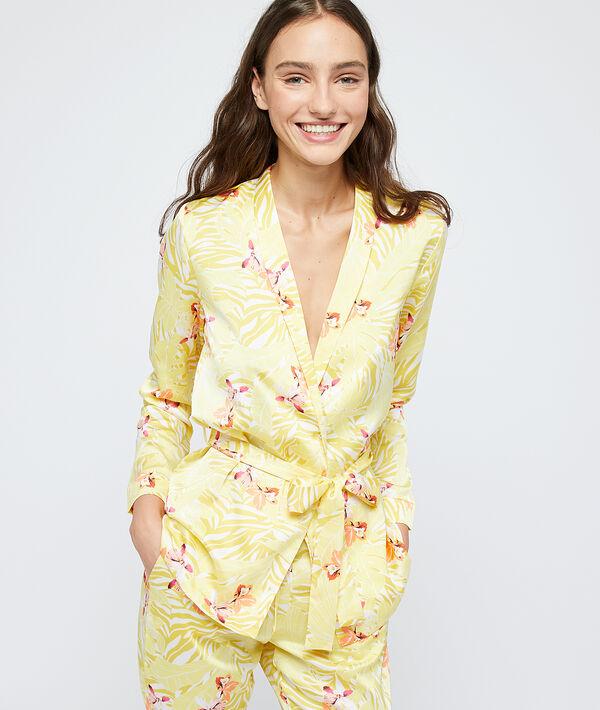 Chemise de pyjama satinée ceinturée;${refinementColor}