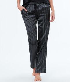 Pantalon rayé en satin noir.