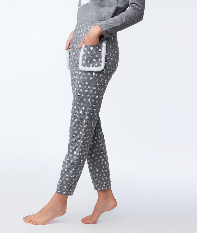 Pantalon imprimé avec poches fausse fourrure anthracite.