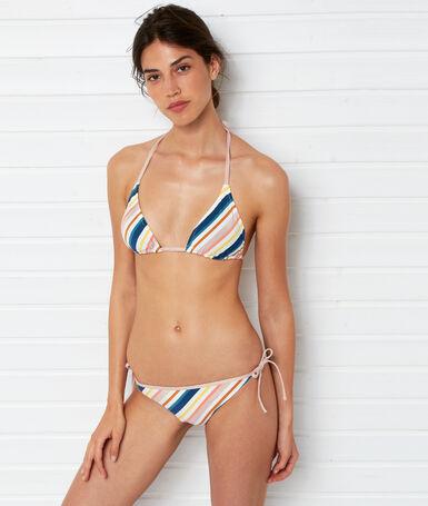 Bas de bikini à nouer imprime fond blanc.