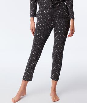 Pantalon motif cœurs et étoiles anthracite.