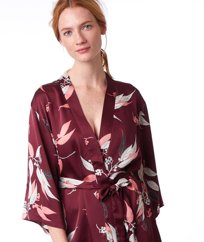 Déshabillé kimono imprimé bordeaux grenat.