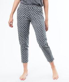 Pantalon imprimé petites fleurs grau.