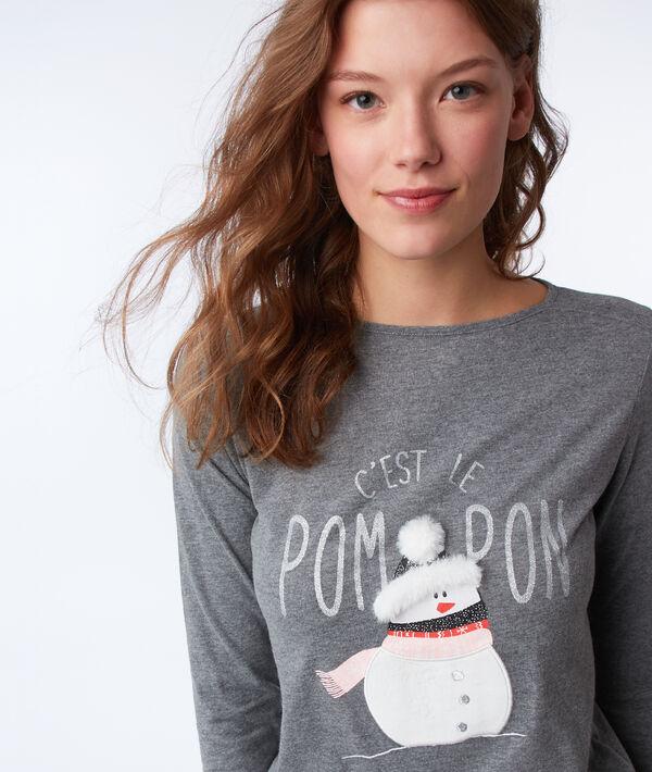 T-shirt à message avec détails fausse fourrure
