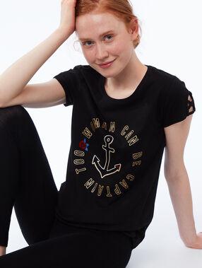 T-shirt à message black.