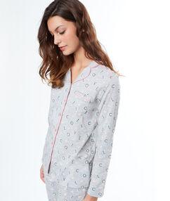 """Chemise de pyjama d'homme imprimé """"love cats"""" gris."""