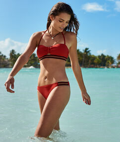 Bikini à bande sporty brillante brique roux.