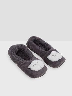 Chaussettes homewear chat gris.