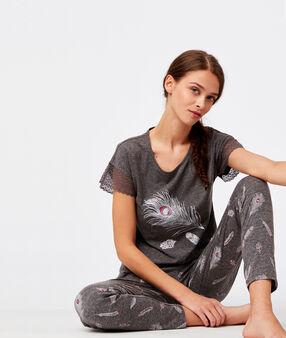 T-shirt manche dentelle imprimé plume anthracite.