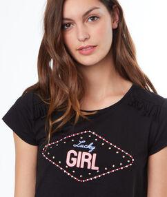 T-shirt imprimé noir.