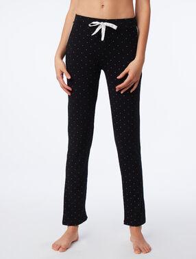 Pantalon de pyjama à pois noir.