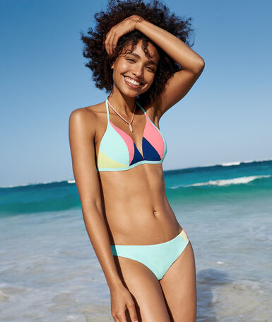 Bas de bikini simple bleu lagon.