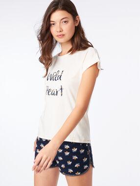 """T-shirt """"wild heart"""" ecru."""