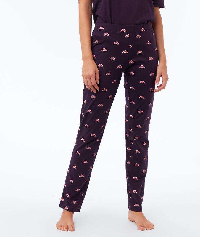 Pantalon imprimé violet.