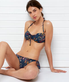 Bas de bikini brésilien - high leg imprime fond marine.