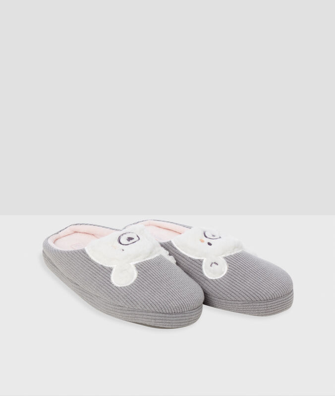 Chaussons ours gris.