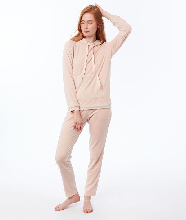 Pantalon homewear velours bande satin