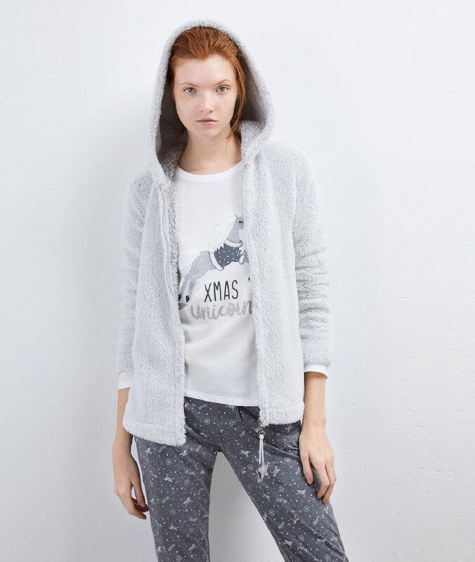 Pyjama trois pièces fermeture étoile gris clair.
