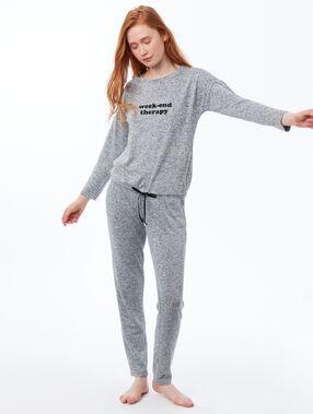Pantalon homewear chiné gris.