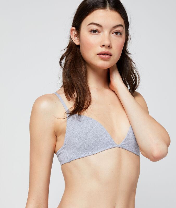 Triangle sans armatures en coton gris.