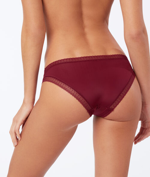 Culotte microfibre, bords dentelle