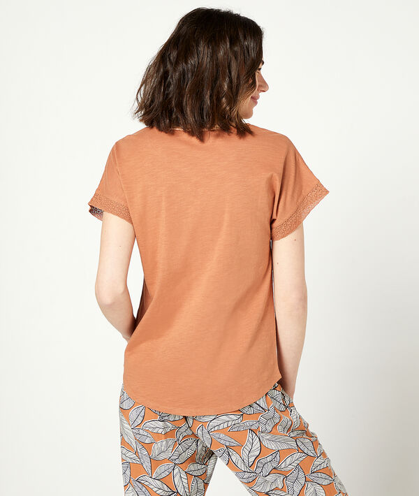 T-shirt col à lacets;${refinementColor}